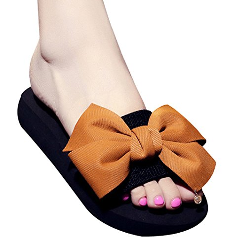 Cattior Womens Summer Cute Ladies Slippers Beach Slide Sandals Brown Ddfc4