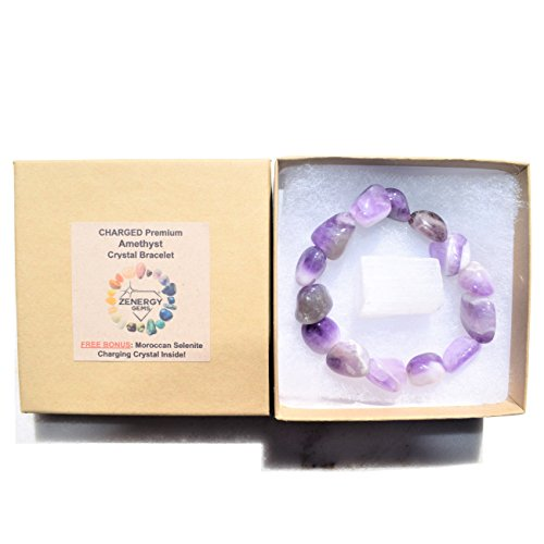 Charged Amethyst Crystal Bracelet Tumble Polished Stretchy (Open & HEAL The Heart Chakra - Soothe Hurt, Loneliness & Anxiety) [Reiki] by ZENERGY GEMS