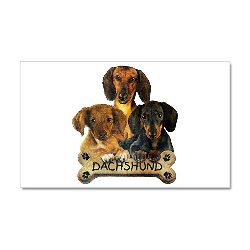 20 x 12 Wall Vinyl Sticker Dachshund Trio with Bone Name Plate