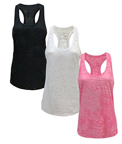 Tough Cookie's Women's Plain Burnout Racerback Workout Tank Tops (Small, Black / White / Neon Pink)