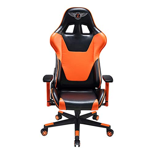 E-Sports Gaming Racing Car Chair Silla de juego reclinable para el hogar Silla de oficina para computadora Simple-Orange