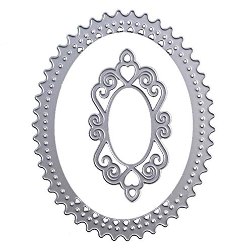 Gosear Cutting Die, Cutting Die for Scrapbook, Scrapbooking Dies Metal Cutting Dies Oval Hollow Lace Frame Embossing Stencils Templates Mould for DIY Craft Scrapbook Album Paper Card Decor