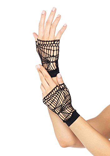 Black Distressed Net Fingerless Gloves (Leg Avenue Women's Distressed Net Fingerless Gloves, Black, One Size)