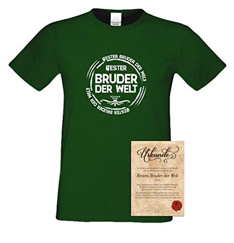 Bruder Geschenkeset Fun-T-shirt zu Weihnachten oder zum Geburtstag mit GRATIS Urkunde - Bester Bruder der Welt Farbe: dunkelgrün Gr: 4XL