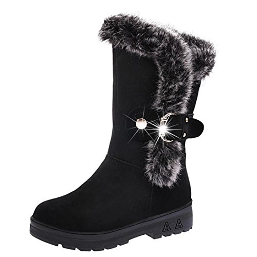 Fheaven Women Winter Warm Mid Calf Slip-On Snow Ankle Boots Fur Tassel Buckle Strap Shoes (8, Black)