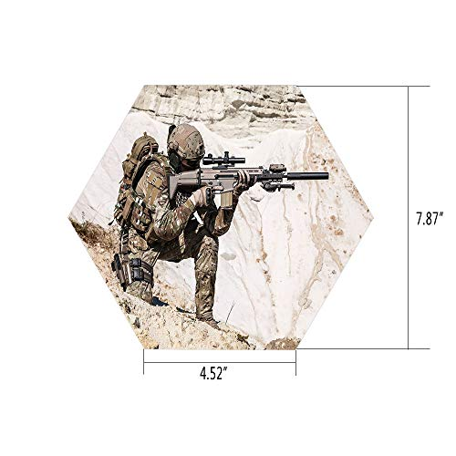 iPrint Hexagon Wall Sticker,Mural Decal,Army Decor,United States Ranger on The Mountain Targeting with Gun Camouflage War Picture,Beige Green,for Home Decor 4.52x7.87 10 Pcs/Set -