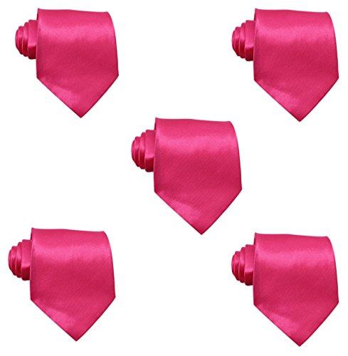 Mens Solid Satin 3.9 Inch Wide Formal Necktie Pack 5 For Wedding By JAIFEI (Hot Pink) - Hot Pink Necktie