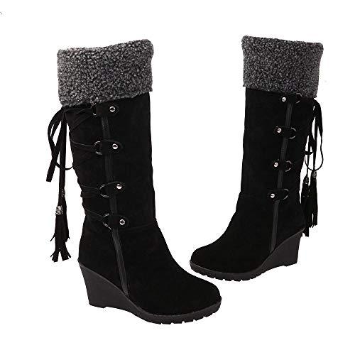 Nero da ginocchio stivali invernali al nappe stivali con con con stivali donna da con Vovotrade caldi stivali Scarpe donna nappe e xfwqwR48