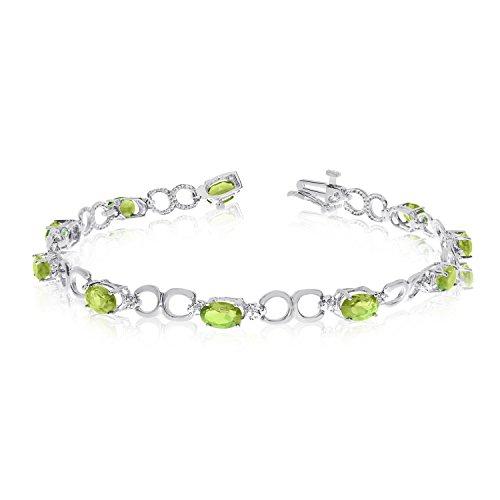 "4.00 Carat (ctw) 10k White Gold Oval Green Peridot and Diamond Open Link Tennis Bracelet - 7"" Length"