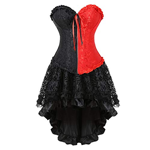 Grebrafan Halloween Corsets for Women Bustier Skirt (US(8-10) L, red Black)