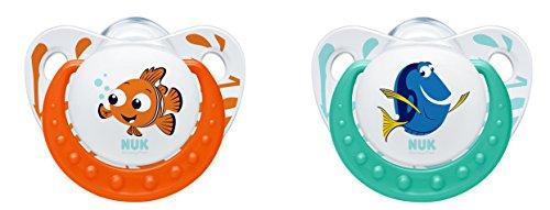 NUK 10175135 Disney Finding Dory Trendline Silikon-Schnuller, 0-6 Monate, kiefergerecht, BPA frei, 2 Stück, orange / minze