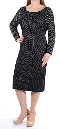 Calvin Klein Women's 3/4 Sleeve Round Neck Sweater Dress with Arrow Pattern, Black/Winter White, M - Round Neck Sweater Dress
