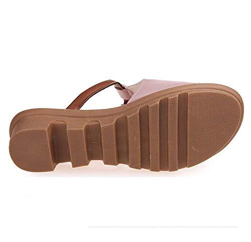 Ladies Us7 Bonne Souples Eu38 Confortables Compensées Respirantes 5 Et Rose Baskets De Slippers Sandals Pantoufles Rose Summer Uk5 Oudan Cn38 5 Qualité 5WZB7F7