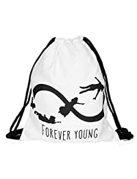 Drawstring Backpack Rucksack School Book Bags Gymbag Forever Young White [010]