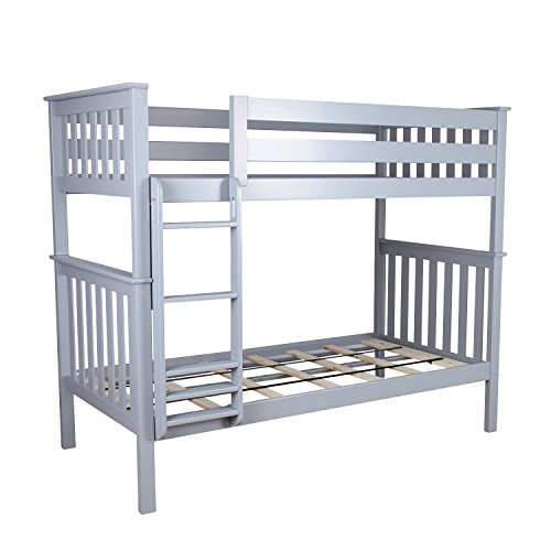 (Max & Lily Solid Wood Twin over Twin Bunk Bed, Grey)