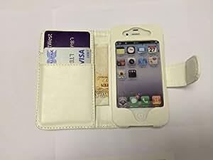 Súper Mejor Apple iPhone 4 4S Bolsillo de color Blanco con cubierta de cuero de dos ranuras para tarjeta de la PU para Apple iPhone 4 4S