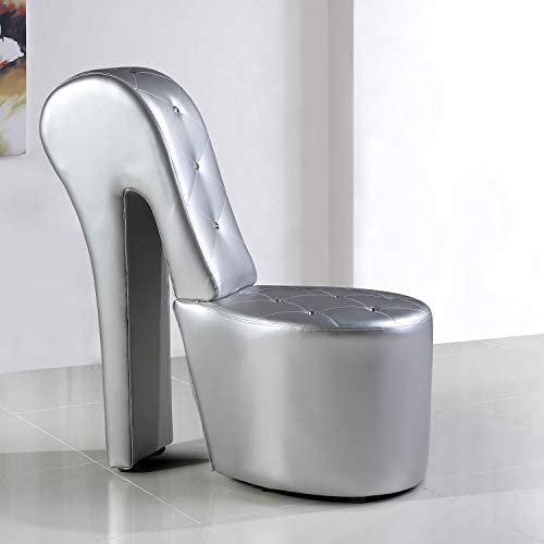 Best Master Furniture High Heel Faux Leather Shoe Chair with Crystal Studs, Silver