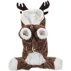 ARJOSA Pets Dogs Cats Cozy Reindeer Christmas Costume Hoodie Winter Warm Coat (L)
