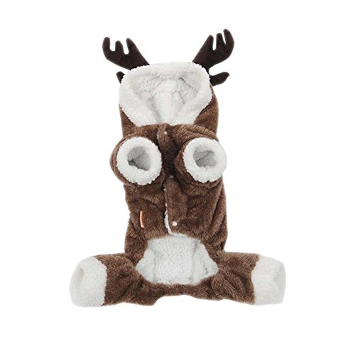 ARJOSA Pets Dogs Cats Jumpsuit Christmas Halloween Costume Reindeer Hoodie Winter Coat (S) -