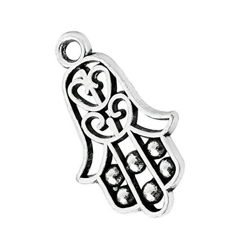 20 Pieces Hamsa Hand Judaica Powers Lucky Charms Finding for Jewelry Pendants Necklace Making 22mm X 14mm