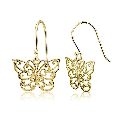 (Yellow Gold Flashed Sterling Silver High Polished Filigree Butterfly Dangle Earrings)