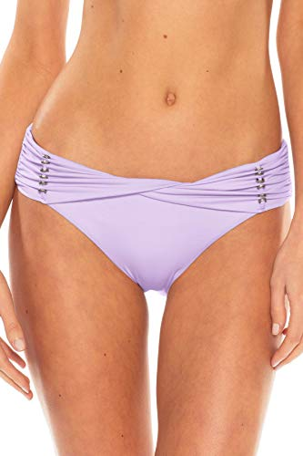 (Becca by Rebecca Virtue Women's Reconnect Sash Hipster Bikini Bottom Iris S)