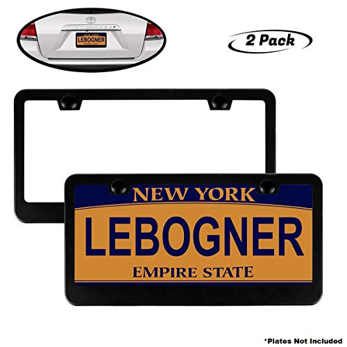 (lebogner Car License Plate Frames, 2 Pack Matte Aluminum Auto Plate Frames, Will Fit Standard US Plates, 2 Hole Stainless Steel Black Unbreakable Frames to Protect Plates, Mounting Hardware Included)