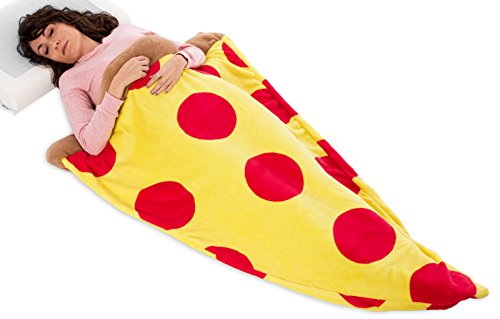 Silver Lilly Pizza Sleeping Bag – Plush Fleece Giant Pizza Slice Blanket for Kids and Adults (Adult)