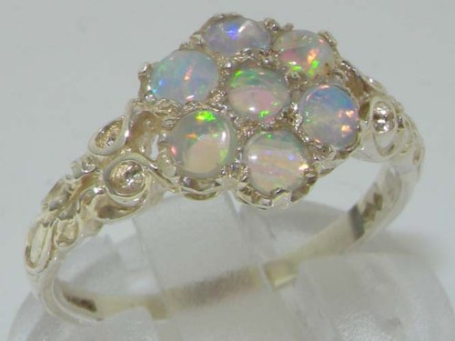 925 Sterling Silver Real Genuine Opal Womens Band Ring - Size 7