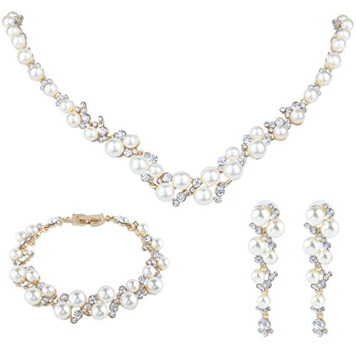 EVER FAITH Cream Simulated Pearl Crystal Bridal Necklace Earrings Bracelet Set Gold-Tone (Gold Necklace Tone Crystal)