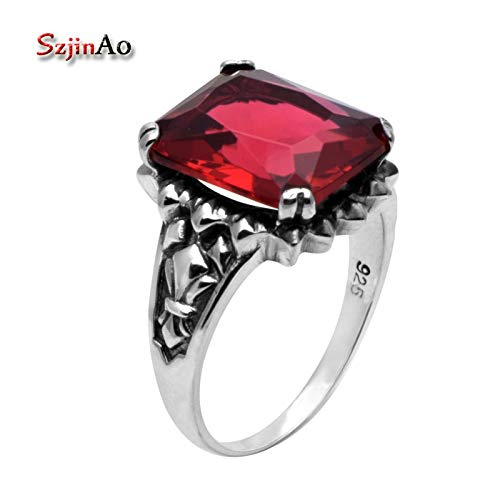 Retro Jewelry with Square Red Stone   Ruby Ring   Authentic Vintage 925 Sterling Silver Rings for Women ()
