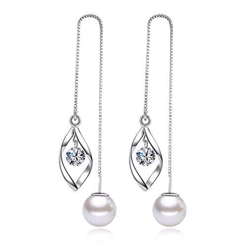 MSECVOI Elegant 925 Sterling Silver Threader Tassel Earrings Pearl Ball Drop Long Chain Earrings Wedding for Women and Girls