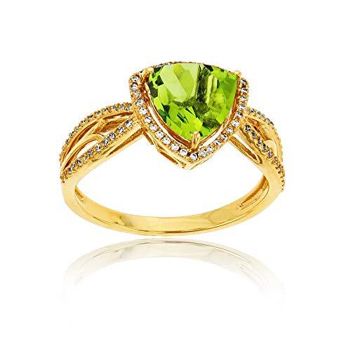 (14K Yellow Gold 0.20 CTTW Round Diamond & 8mm Trillion Peridot Split Shank Ring)