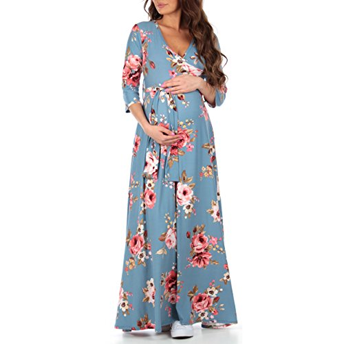 Mother Bee Women's Faux Wrap Maternity Dress With Adjustable Belt,Small,Denim - Pregnancy Middleton Kate Fashion