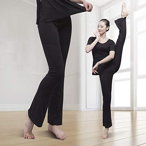 Vshiaifen ダンスパンツ女性の大人のズボントレーニングボディービルヨガブラックモーダルストレートマイクロシェイプボディトレーニングパンツ (Color : BLACK, Size : L)
