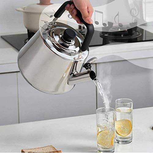 HSWJ Bouilloire pour cuisinière Théière sifflant négligente en Acier Inoxydable adapté for Une cuisinière à Induction cuisinière à gaz 4L Bouilloire en Acier Inoxydable