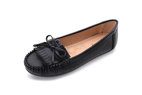 Mlia Lady Womens Casual Slip On Loafer Moccasins Flats Driving & Walking Shoes Zoe Black 11 (Moccasin Shoes Driving)