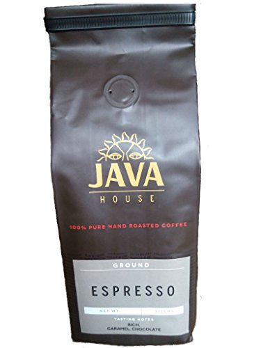 Kenya AA Espresso Ground Coffee - Perfectly Hand Roasted, Single Origin, Wet Processed, Fair Trade Kenyan Coffee with verifiable Coffee Kenya Mark of Origin by Java House Africa (13.23 oz)
