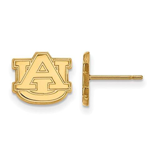 Sterling Silver w/ 14K Yellow Gold-Plated LogoArt Official Licensed Collegiate Auburn University (AU) XS Post Earrings by LogoArt
