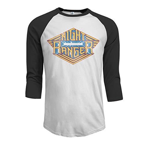 JeremiahR Night Ranger Men's 3/4 Sleeve Raglan Baseball Tshirt Black M