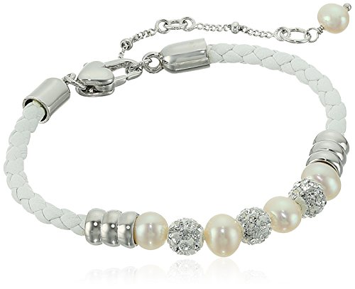 Honora Girl's Sterling Silver White Freshwater Cultured Pearls with White Crystals on Leather Cord Bracelet, 7.5