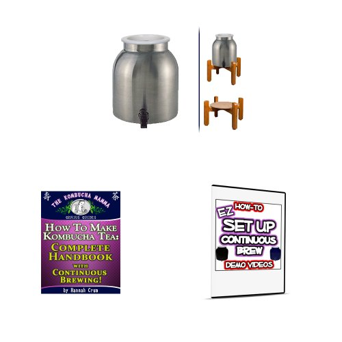 KKamp Continuous Brew Kombucha BREWER ONLY - Stainless Steel w/ Wood Stand by Kombucha Kamp