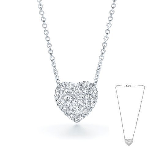2.00 Carat Two Sided Heart Pendant Necklace with an 18 Inch Chain Included. Platinum Plated