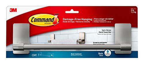 Command by 3M 9 Towel Bar, Stylish Design, Easy On, Easy Off, (BATH41-SN-ES)