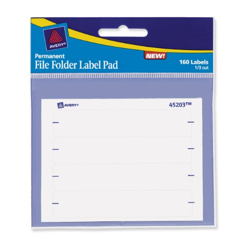 Label Pads - Avery File Folder Label Pad, White, 1/3 Cut, Pad of 160 (45203)