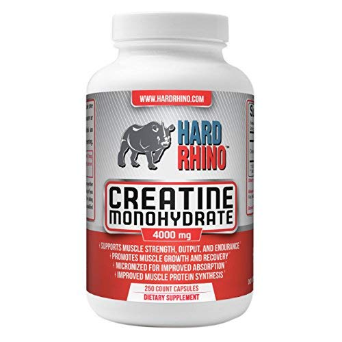 Hard Rhino Creatine Monohydrate Capsules, 4000mg, 250 Vegetarian Cellulose Capsules -