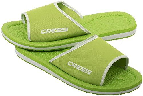 Cressi Lipari - Slipper für Strand und Schwimmbad - Erwachsene und Kinder Lime/Weiß