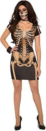 Ladies Sexy Mistress Skeleton Bones Dress Horror Halloween Fancy Dress Costume Outfit UK 10-14 ()