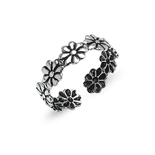 Sterling Silver Toe Ring Daisy Flower Hawaiian Adjustable Band Women Girls