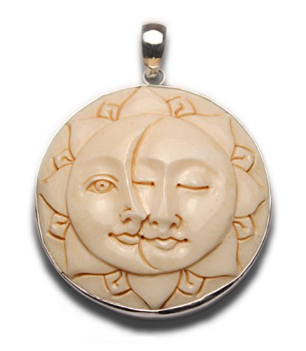 Two Lovers Sun Moon Faces Lotus Petal Pendant Sterling Silver ()